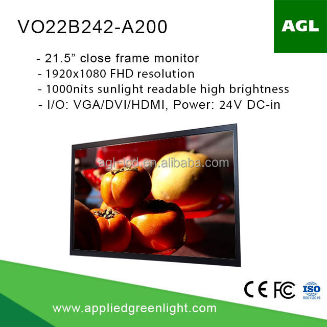 "21.5"" industrial grade sunlight readable 1000 nits high brightness lcd monitor for outdoor signage"