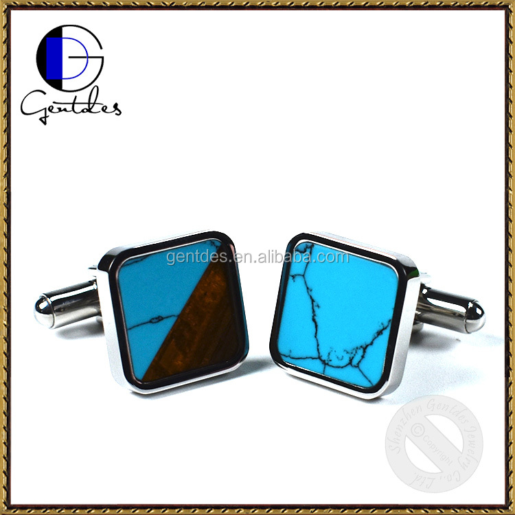 Rosewood with Turquoise Inlay Stainless Steel Cufflinks