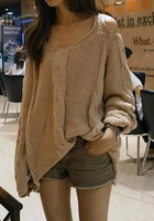 Shoulder Cut Out Sweater - Apricot