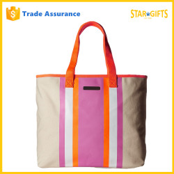 2016 New Model Stylish Stripe Printed Canvas Tote Bags With Inner Pocket