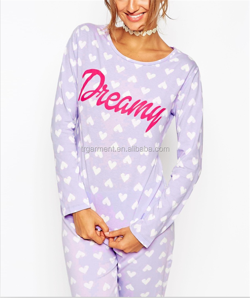 drawstring spots pajamas suit for adult women OEM service design/manufacture
