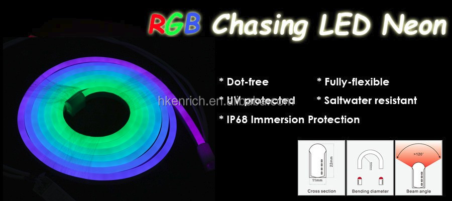 Outdoor/indoor CE RoHS 24v pixel chasing color jumpping flexible led neon