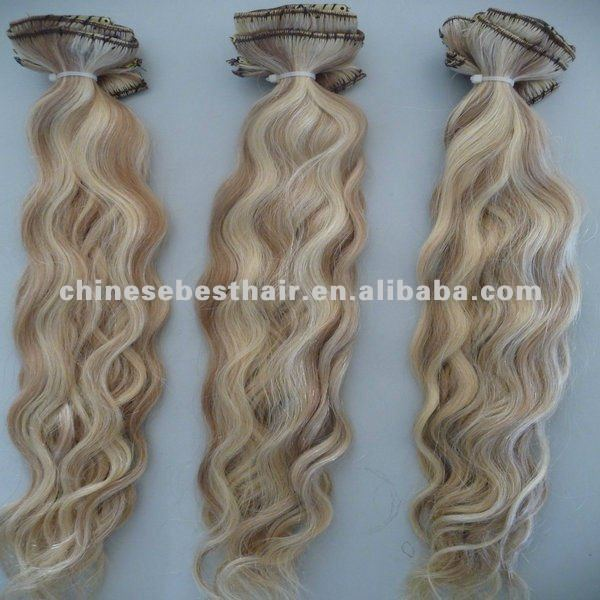 Fashion indian remy kinky curly ,mixed colors clip in hair extensions