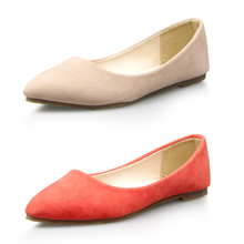 SAA6143 Women flat shoes fashion candy color suede ladies slip on shoes