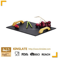 SLATE CHEESE SERVING TRAY WITH WOODEN HANDLE 30*20CM