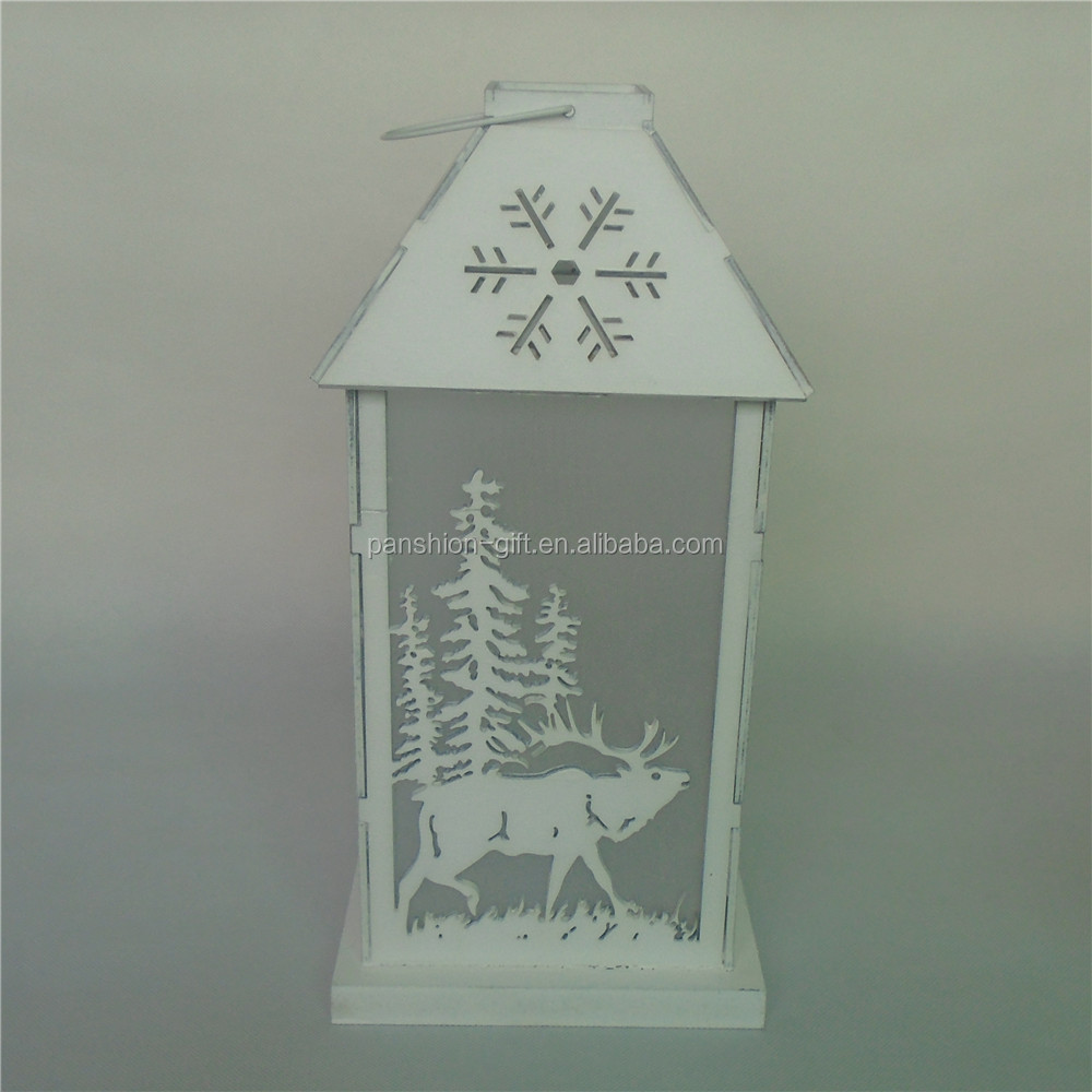 Deer pattern Christmas wood candle holder