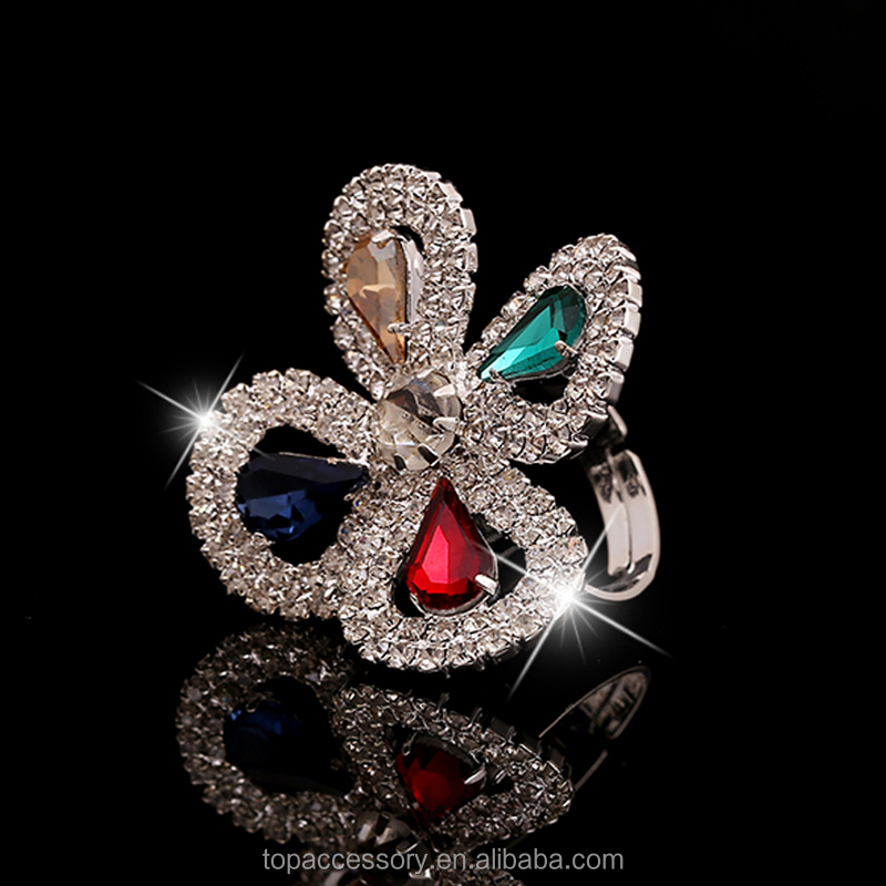 TR6930-39 Colorful Crystal Clover Ring for Women Flower 2017 Fashion Exaggerated Luxury Jewelry CZ Diamond Ruby ring