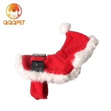 Pet accessories dog clothes with plush collar red christmas pet clothes