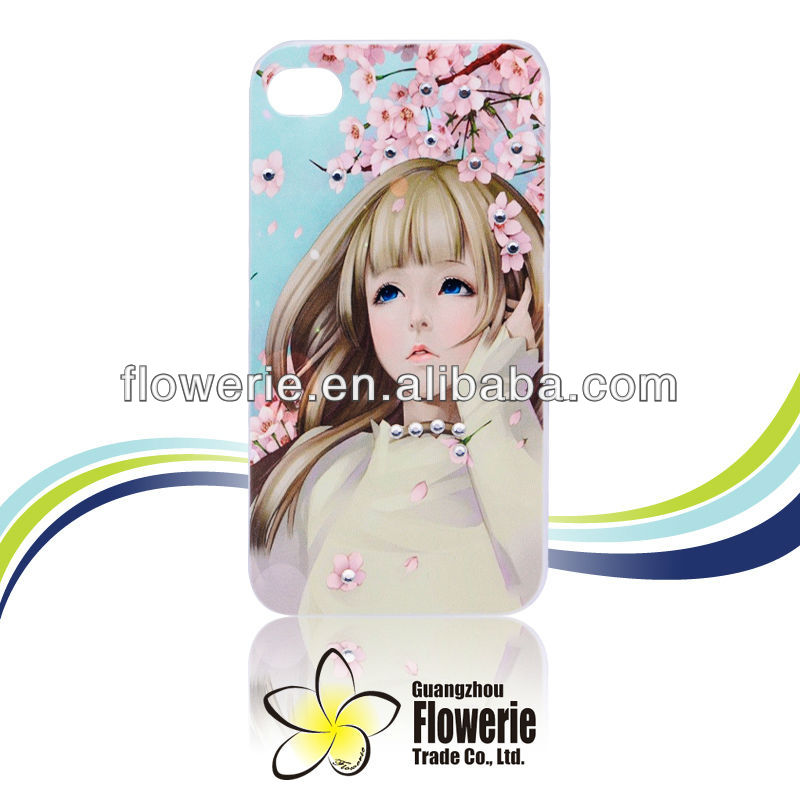 FL113 Bling diamond fash case luxury crystal case with painted printing for iphone 4 ,Kourea fashion girl for iphone 4
