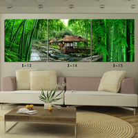 Modern Wall Art Home Decoration 3 Panel Oil Paintings Landscape Natural Green Bamboo Canvas Prints for Home Decorative Paintings