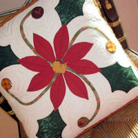 christmas poinsettia pillow cover hand appliqued quilted