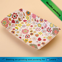 Cute coated paper food grade rectangle box for chips/fried chicken/fast food packaging