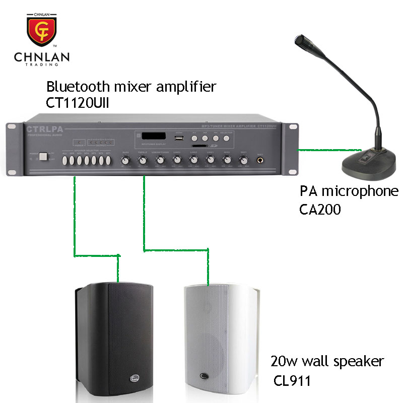 Chnlan 120w bluetooth PA sound system for restaurant/hall/clasroom/shop/supermarket/hotel