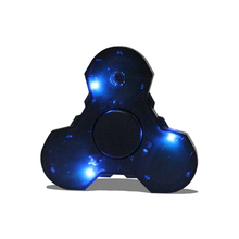 Stock Factory Direct hand finger spinner LED lamps 608 metal bearing spinning bluetooth music fidget spinning toy