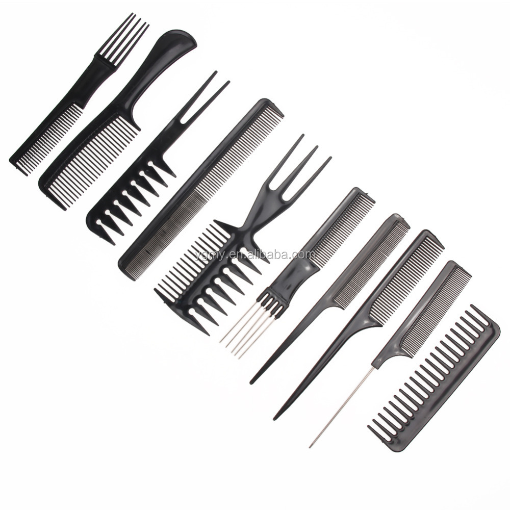 10pcs/Set Hair Brush Comb Salon Barber Anti-static Hair Combs