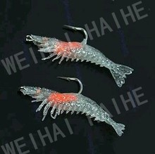 Silicone Shrimp prawn lures pike cod bass pollock salmon sea fishing bait