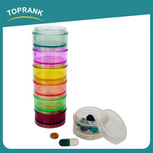 Toprank 7pcs Round Plastic Slim Diet Pill Box Travel Pocket Size Daily Japanese Pill Box Organizer For Medicine Storage