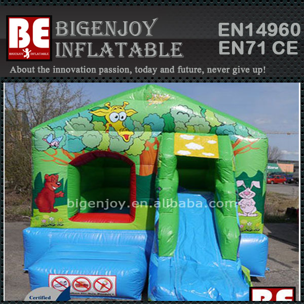 Mixed Olives Inflatable Combo Bouncy Slide For Sale