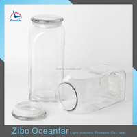 Eco-friendly Antique Tall Decorative Glass Jars And Lids Square Clear Glass Jar With Glass Lid Silicone Lid