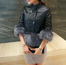 W71002G 2015 colored fox fur coat womens for winter coats made in mink and leather