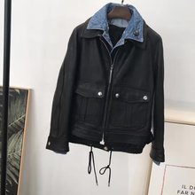 "Leather Jacket with blue denim collar types of clothing ""false two"" , imported vegetable tanned leather"