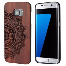 Wood carving Sunflower design national style wood phone case for Samsung series