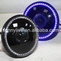 For Jeep Wrangler 07-15 Head Light Blue LED Angel Eyes Black Housing