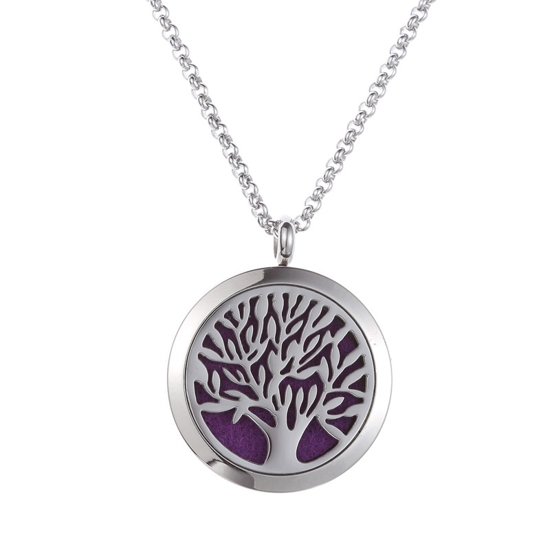 30mm Surgical Grade 316l Stainless Steel Silver Tree of Life Essential Oil Aromatherapy Locket Perfume Diffuser Necklace Jewelry
