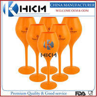 Small heavy plastic champagne flutes for Brand Veuve clicquot, Yellow/orange unbreakable chamnpagne glass made in China