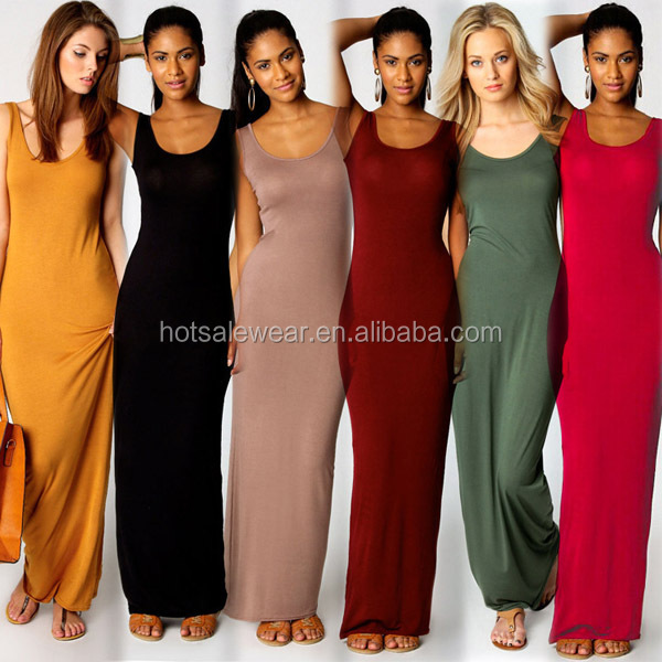 big sale blank women sleeveless simple tall lady maxi long dress SJ- SJ1129