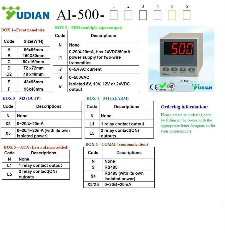 Yudian AI-500 digital temperature indicator 48x96