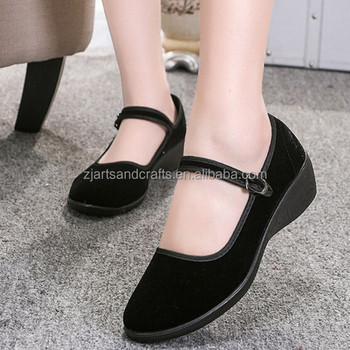 Elegant Cheap ceremonial shoes hotel work shoes wedges cloth shoes women