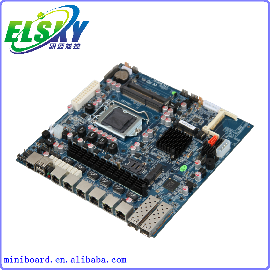 Intel LGA1155 Firewall Motherboard with 6 Lan ports and 2 Optical ports (I3/I5/I7 option)
