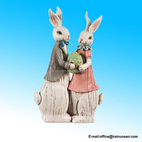 Polyresin Easter Traditions His and Her Rabbit Statue