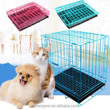 2 Door Pet Crate Kennel Metal Collapsible Dog Wire Cage with Tray Black