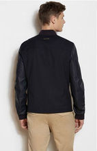 Contrast Sleeve Bomber varsity jacket with leather sleeves for men