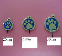 paw engraved round pet id tag, disc dog collar tag suppliers