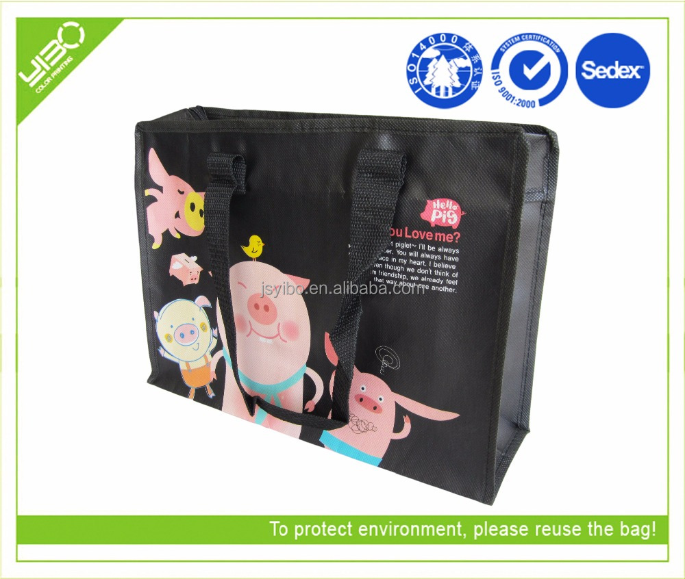promotional laminated non woven kids shopping bag with zipper