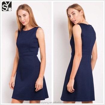 2017 latest fashion ladies round neck sleeveless autumn/winter short dress SYD004