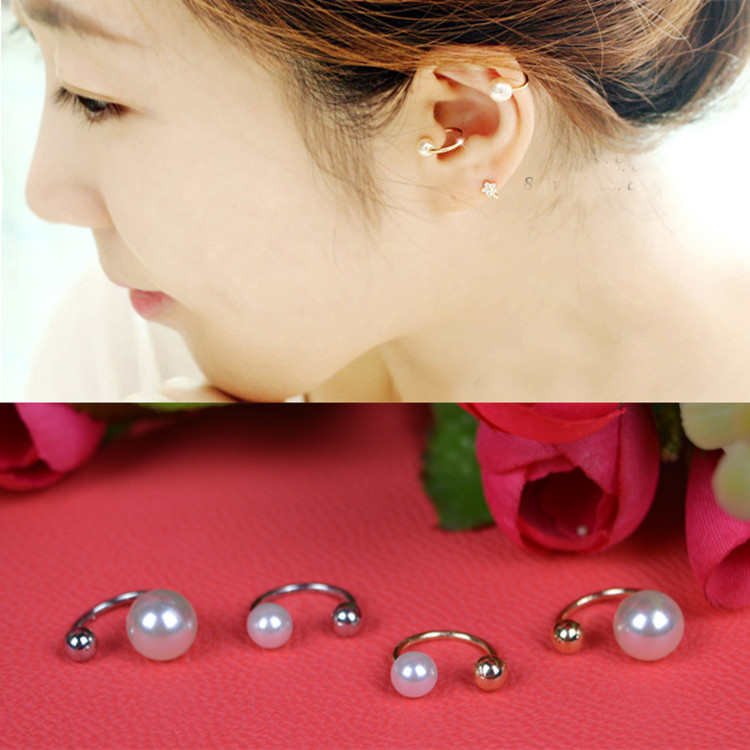 Half Circle Shape One End Metal Ball One End Pearl Woman Clip Earring
