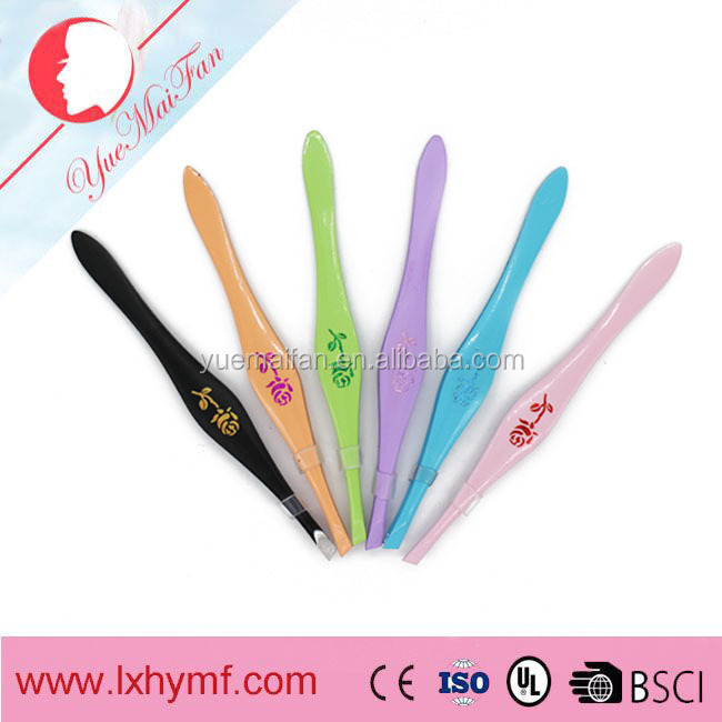 2016 Hottest Selling Fashionable Logo Silver Eyebrow Tweezers and Leopard Printed Eyebrow Tweezers