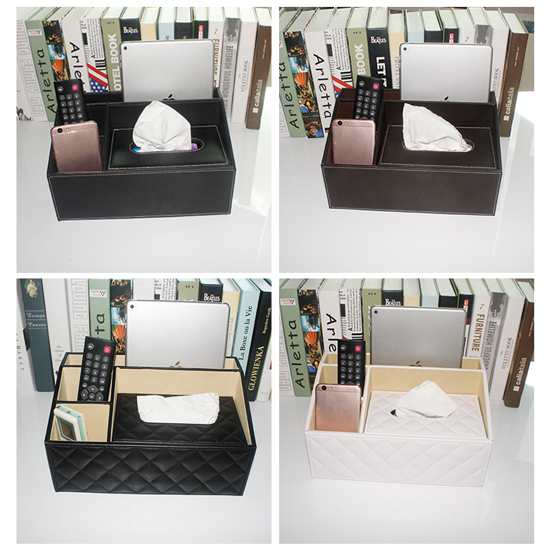 Desk Accessories Leather Wooden Organizer Tissue Box with Pen Holder,remote control storage,for ipad tablet storage