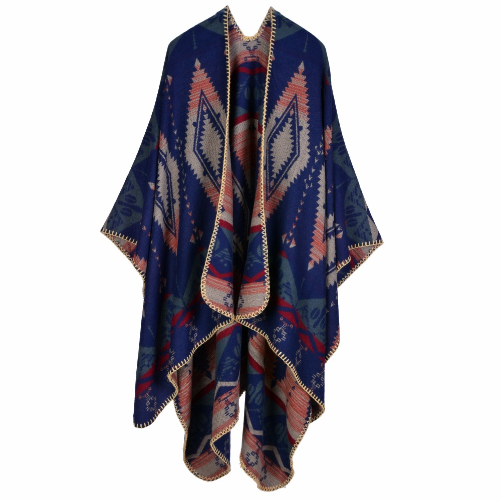 Hot sale china Cheap Winter Shawl Fashion Winter Poncho Cashmere Cape With Geometric Pattern RO16024