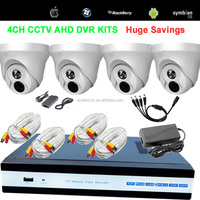 H.264 720P 4CH DVR KITS With 4 Plastic Dome Camera H.264 4CH 720P HD AHD DVR Kit With 720P AHD Camera