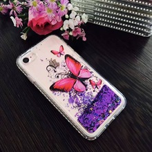 Customized LOGO Butterfly Patterns Bling Diamond Glitter Liquid TPU Cover Cases For Apple iPhone 7
