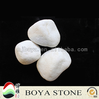 snowy white natural polished pebbles for decoration, river rock for wholesale