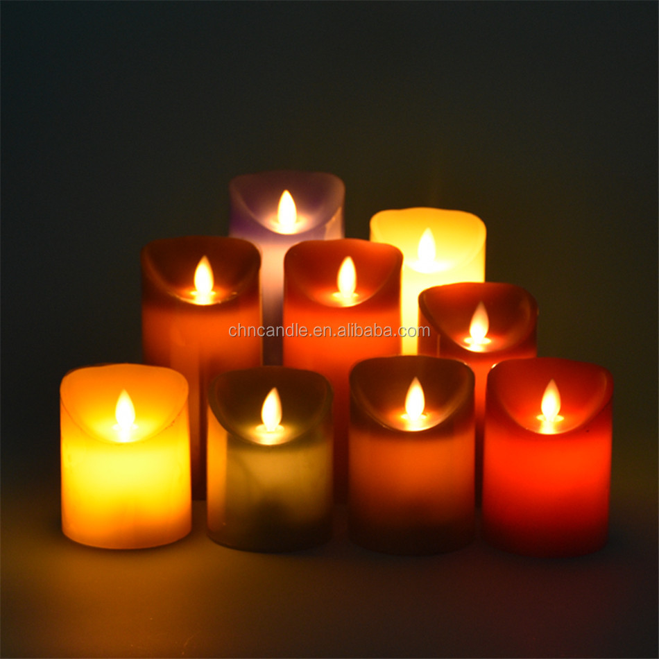 Customed Luxury Brand fashion gold real paraffin wax candle led/quality silverflameless candle 3 pieces