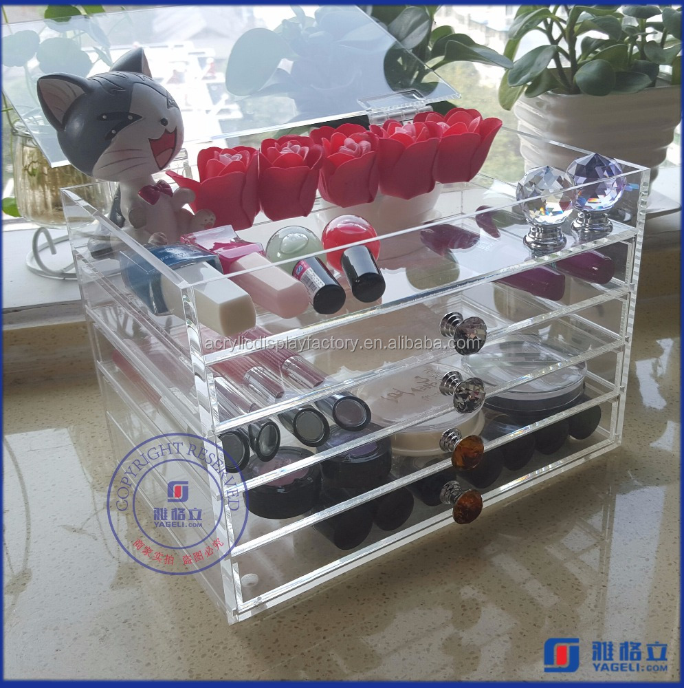 Yageli clear acrylic makeup drawer dividers / makeup storage cases