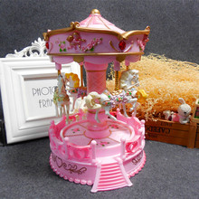 2017 High Quality christmas gift kids plastic toy carousel music box pink carousel horse music jewelry box for sale