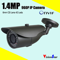 6mm cs lens network ip cctv security camera module 42pcs leds onvif 1.4mp 960p cmos high resolution outdoor waterproof bullet